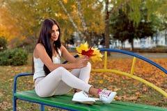 Brunette Mädchen, gelbe Blätter der alten Bank des Parks auf dem Gras, hält lizenzfreie stockfotografie