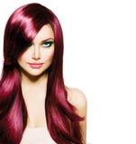 Brunette-Mädchen mit dem langen Haar Stockfotos