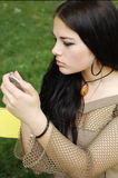 brunette makeup που βάζει Στοκ Εικόνα