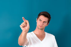 Brunette Man Pressing Virtual Button Stock Photo