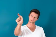 Brunette Man Pressing Virtual Button Stock Photo