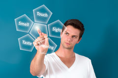 Brunette Man Pressing Virtual Button Stock Photography