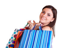 Brunette with many shopping bags Royalty Free Stock Photo