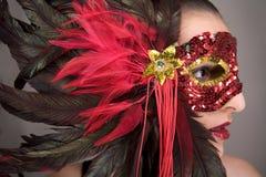 Brunette in masker Stock Afbeeldingen