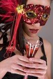 Brunette in masker Royalty-vrije Stock Afbeeldingen
