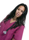 Brunette in medical scrubs Royalty Free Stock Photo