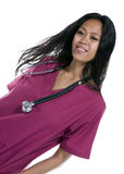 Brunette in medical scrubs Royalty Free Stock Photography