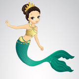 Brunette Mermaid With Gold Crown Stock Photos