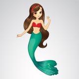 Brunette Mermaid In Red Top Stock Images