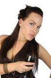 brunette met een glas rode wijn stock foto's