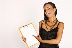 Brunette met een stootkussen Royalty-vrije Stock Foto
