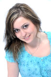 Brunette met grote bruine ogen Stock Afbeeldingen