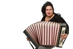 Brunette met harmonika stock foto