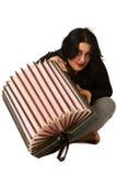 Brunette met harmonika royalty-vrije stock fotografie