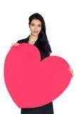 Brunette met hart royalty-vrije stock foto