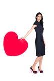 Brunette met hart royalty-vrije stock fotografie