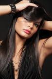 Brunette met lang haar. Stock Foto's
