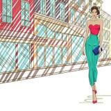 Brunette met zak royalty-vrije illustratie