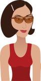 Brunette met zonnebril royalty-vrije illustratie