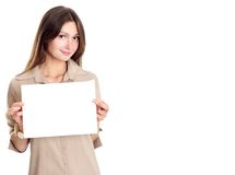 Brunette mignon avec le papier blanc Image libre de droits