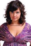Brunette mit blauen Augen Stockbilder