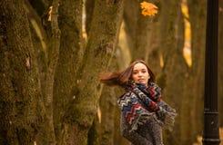 Brunette mit dem Fliegenhaar, das gegen den Hintergrund von Herbstbäumen aufwirft Lizenzfreie Stockfotos