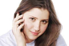 Brunette with mobile Royalty Free Stock Photos