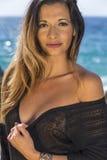 Brunette Model on Beach Stock Images