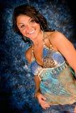 Brunette Model in Blue Royalty Free Stock Images