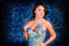 Brunette Model in Blue Royalty Free Stock Image