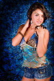 Brunette Model in Blue Stock Photos