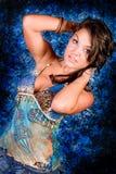 Brunette Model in Blue Stock Photography