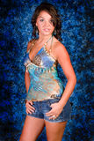 Brunette Model in Blue Royalty Free Stock Photography