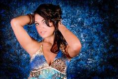 Brunette Model in Blue Stock Image