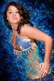 Brunette Model in Blue Stock Images