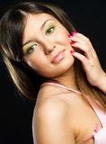 Brunette model with colorful makeup Royalty Free Stock Photos