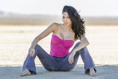 Brunette Model In Desert Stock Images