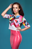 Brunette model in fashion clothes Royalty Free Stock Photos