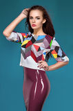 Brunette model in fashion clothes Stock Image