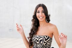Brunette model at fashion smiling Stock Photo