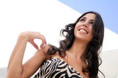Brunette model at fashion smiling Stock Images