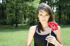 Brunette Model With Flower Royalty Free Stock Photo
