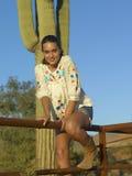 Brunette Model In Front of Cactus Stock Photo