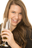 Brunette model holding a wine glass happy and smiling Royalty Free Stock Image