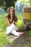 Brunette Model Outdoors Stock Photography