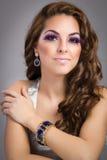 Brunette model portrait. hairstyle, false eyelashes Stock Photography