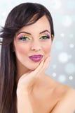 Brunette model portrait. make up, false eyelashes Royalty Free Stock Photo