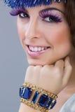 Brunette model portrait. make up, false eyelashes Royalty Free Stock Image
