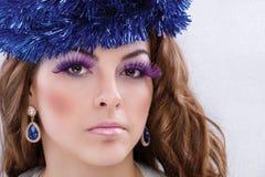 Brunette model portrait. make up, false eyelashes Stock Images