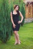 Brunette model posing in black dress. Brunette model posing in short black dress Stock Photography